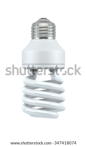 Fluorescent Light Bulb isolated on white with clipping path - stock photo