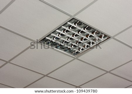fluorescent office ceiling lamp built in on the white ceiling close up view ceiling office