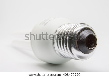 fluorescent tube compact lamps isolated on white background - stock photo