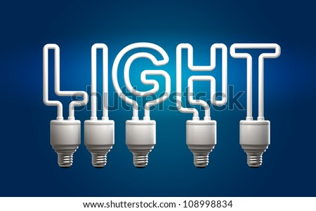 "fluorescent tubes which form the word ""light"" - stock photo"