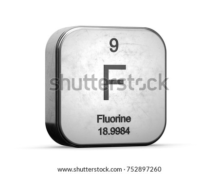 Fluorine element from the periodic table. Metallic icon 3D rendered on white background