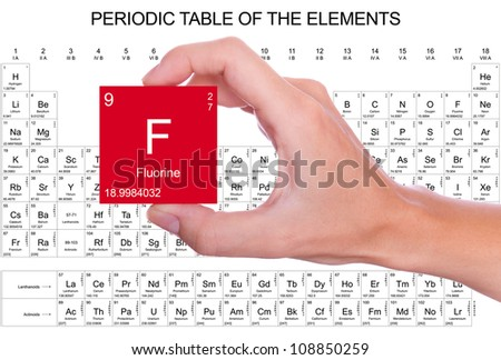 Fluorine symbol handheld over periodic table stock photo 108850259 fluorine symbol handheld over the periodic table urtaz Choice Image