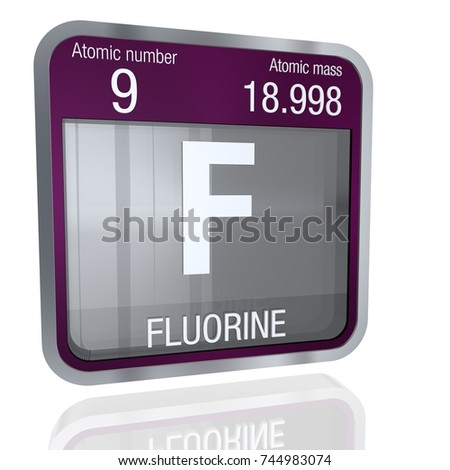 Fluorine symbolchemical element periodic table on stock vector fluorine symbol in square shape with metallic border and transparent background with reflection on the floor urtaz Image collections