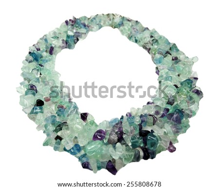 fluorite gemstone beads isolated on white background - stock photo