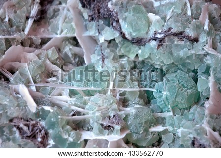 Fluorite mineral crystals close-up. background
