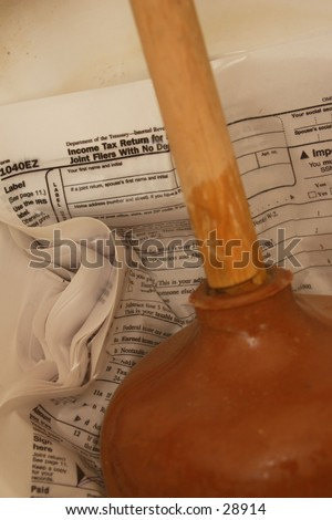 FLush the money down the drain - stock photo