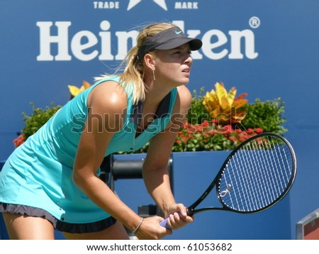 FLUSHING, NEW YORK- SEPT. 4: Maria Sharapova waits to return a serve, Sept. 4, 2010, Flushing, New York. - stock photo