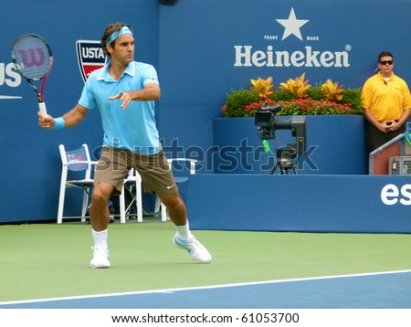 FLUSHING, NEW YORK- SEPT. 4: Roger Federer lines up with the serve at the US Open, Sept. 4, 2010, Flushing, New York.
