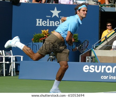 FLUSHING, NEW YORK- SEPT. 4: Roger Federer returns the ball at the US Open at Arthur Ashe Stadium, Sept. 4, 2010, Flushing, New York.
