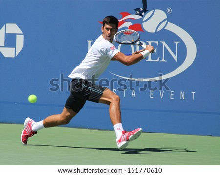 FLUSHING, NY - AUGUST 24: Six times Grand Slam champion Novak Djokovic practicing for US Open 2013 at Billie Jean King National Tennis Center on August 24, 2013 in Flushing, NY - stock photo