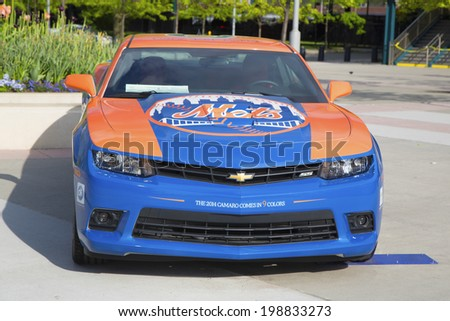 FLUSHING, NY - MAY 18  Chevrolet Camaro Mets Special Edition car in the front of the Citi Field, home of major league baseball team the New York Mets on May 18, 2014
