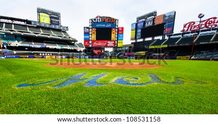 FLUSHING, NY - MAY 11:  Field view of Citi Field Ballpark in Flushing, NYC seen on May 11, 2012.  This stadium is home to Major League Baseball team NY Mets and was opened in 2009. - stock photo