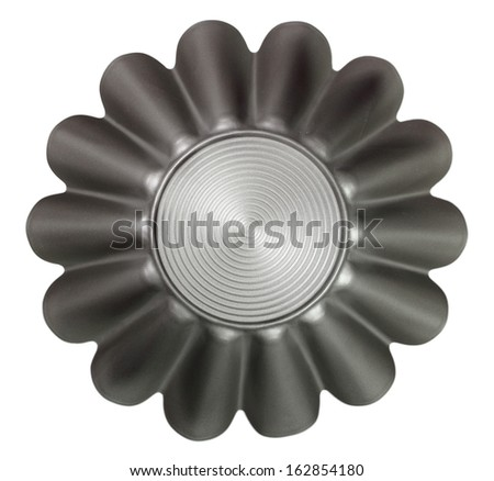 Fluted Cake Tin, Mould, Pan. Cupcake (Brioche, Tart, Sponge) Muffin Tin. Non Stick. Isolated with clipping path. Directly Above. - stock photo