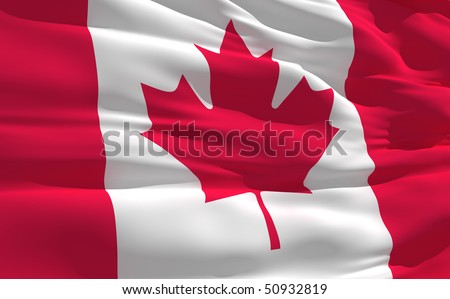 Fluttering flag of Canada on the wind - stock photo