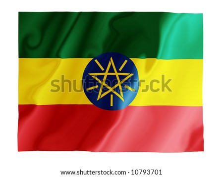 Fluttering image of the Ethiopian national flag