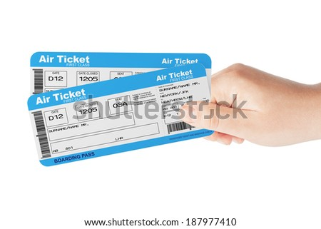 Fly air tickets holded by hand on a white background - stock photo