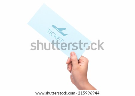 Fly air tickets holded by hand on a white background