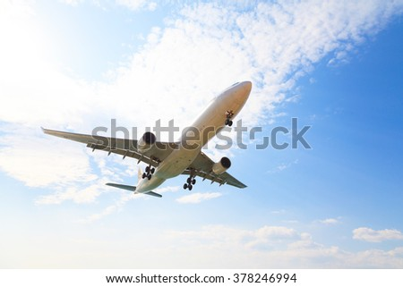 fly aircraft on blue sky