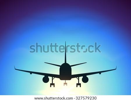 Fly away plane on blue sky background - stock photo