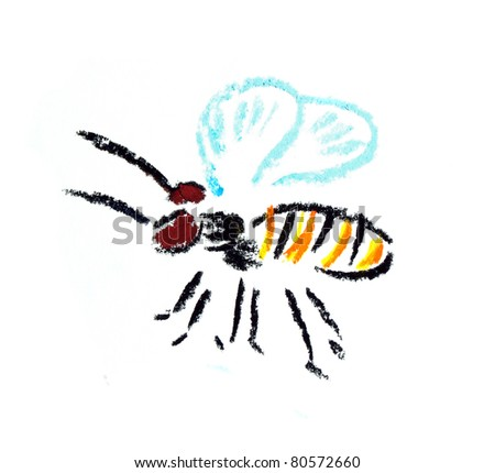 fly bee hand drown illustration isolated on white - stock photo