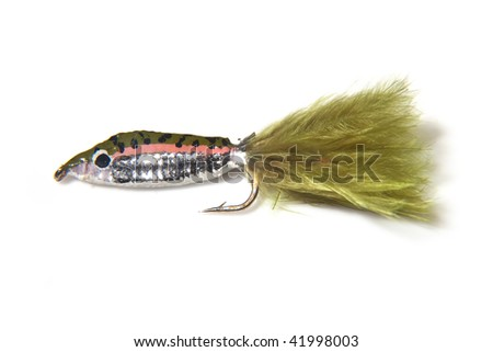 Fly fishing fry fly isolated on a white studio background.