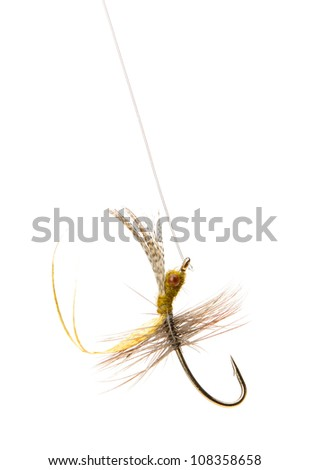 Fly fishing lure isolated on a white background - stock photo
