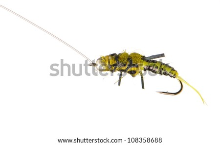 Fly fishing lure wasp isolated on a white background - stock photo