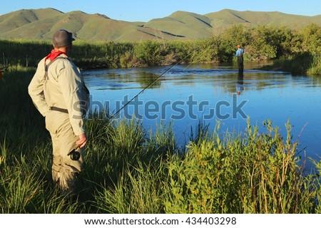 Fly fishing on Silver Creek, Idaho - stock photo