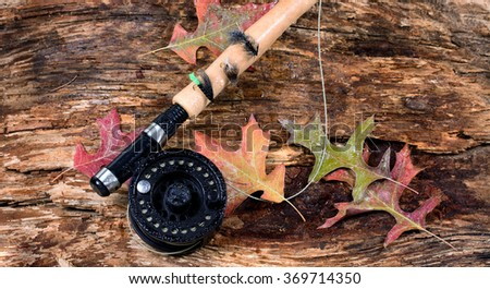 Fly fishing reel with wet weathered tree and fall leaves. Horizontal layout. - stock photo