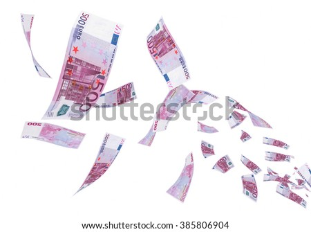 Fly Five hundred euro banknotes (isolated on white and clipping path)