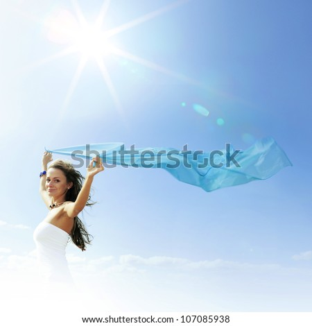 fly girl in the sky freedom concept - stock photo