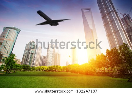 fly over modern city