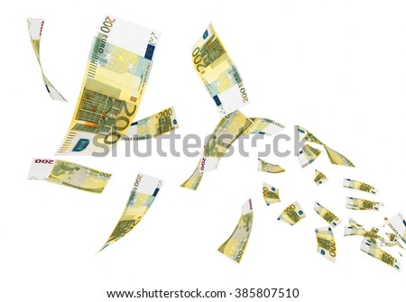 Fly Two hundred euro banknotes close-up (isolated on white and clipping path) - stock photo