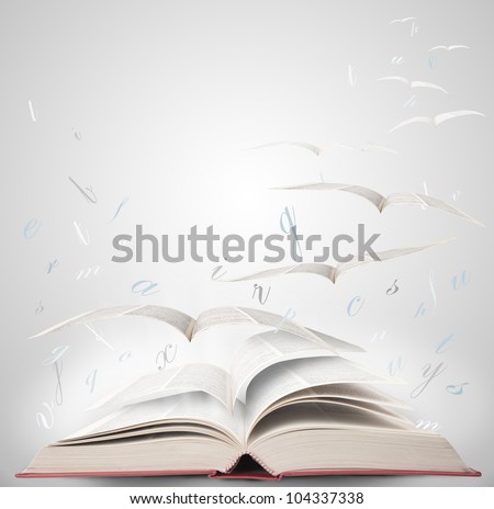 Fly with fantasy reading a book - stock photo