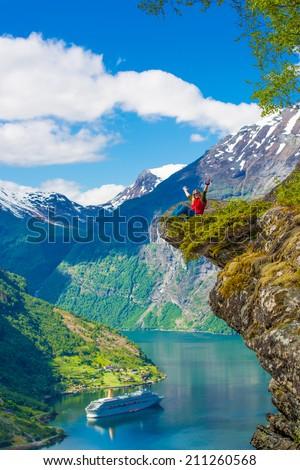 Flydalsjuvet at Geranger fjord, Norway - stock photo