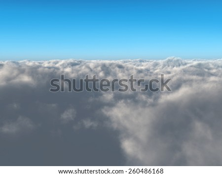 flying a plane into the clouds - stock photo