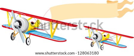 Flying a small plane with a banner waving behind. Raster version - stock photo