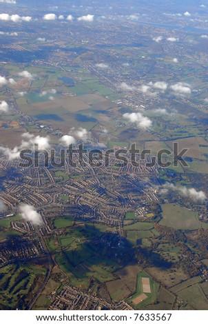 flying above rural england (near heathrow airport, london) - stock photo