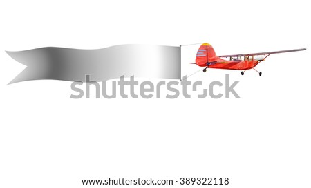 Flying advertising banners pulled by light planes, aircraft pulling advertisement banner isolated on white background. This has clipping path.  - stock photo