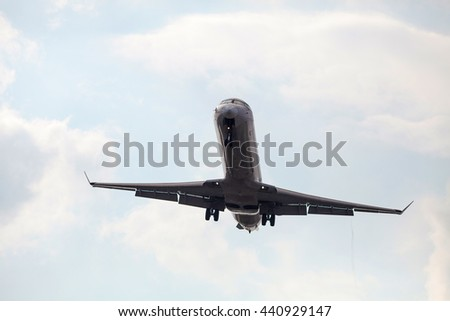 Flying airliner