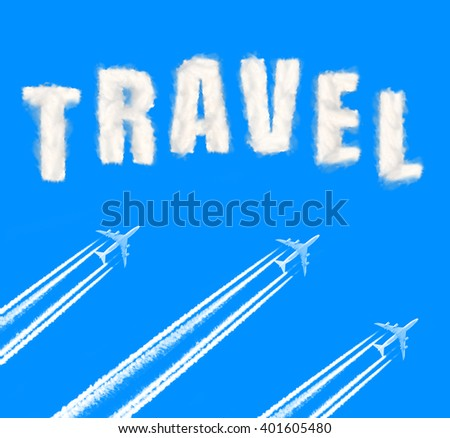 Flying airplanes on the blue sky. Travel concept. - stock photo