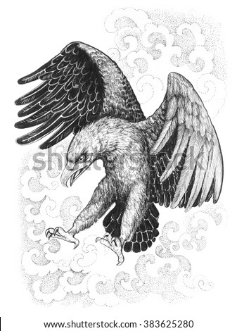 Flying, attacking eagle. Hand painted graphics with ethnic ornaments - stock photo