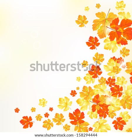Flying autumn leaves background.  For vector version, see my portfolio.