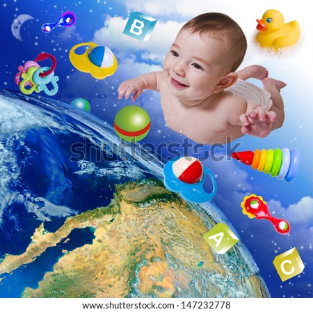 Flying baby on earth background. Elements of this image furnished by NASA. - stock photo