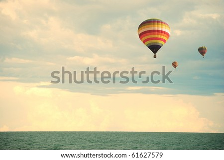 Flying balloon during sunset