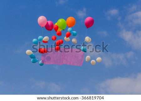 Flying balloons banner in blue sky background - stock photo