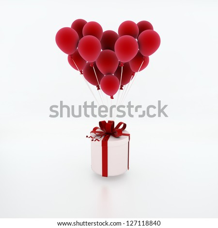 Flying balloons lifting a present. Valentine`s day background.