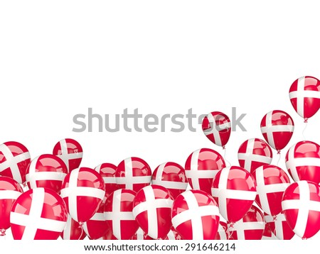 Flying balloons with flag of denmark isolated on white - stock photo