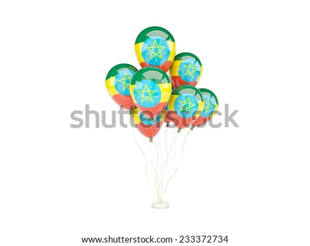 Flying balloons with flag of ethiopia isolated on white - stock photo