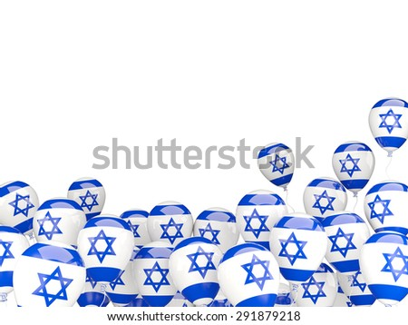 Flying balloons with flag of israel isolated on white - stock photo
